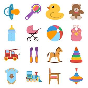 Baby kleurrijke pictogrammen instellen. pictogrammen vector illustratie in plat ontwerp.