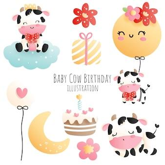 Baby koe verjaardag, baby koe element, papercut stijl.