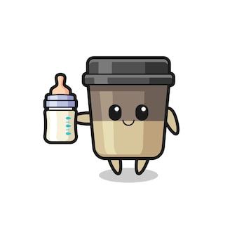 Baby koffiekopje stripfiguur met melkfles, schattig stijlontwerp voor t-shirt, sticker, logo-element