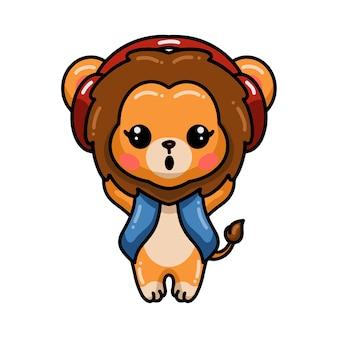 Baby leeuw cartoon met koptelefoon