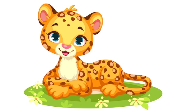 Baby leopard cute cartoon