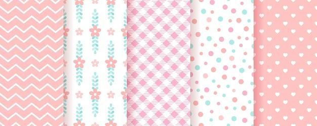 Baby meisje achtergronden. pastel naadloos patroon. leuke roze geometrische texturen. illustratie