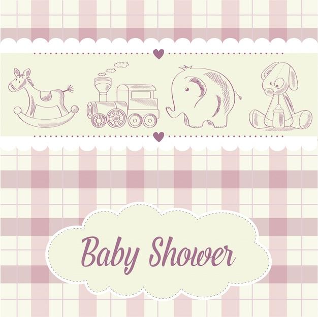 Baby meisje douche kaart met retro speelgoed