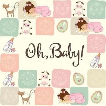 Baby meisje douche kaart