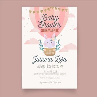 Baby meisje douche uitnodiging sjabloon