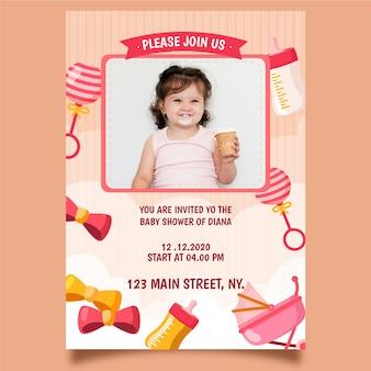 Baby meisje douche uitnodiging sjabloonontwerp