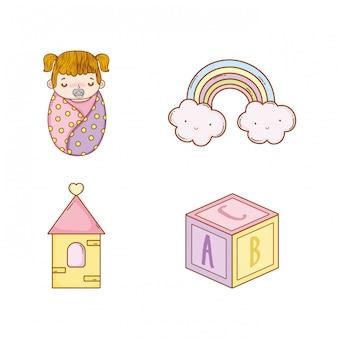 Baby meisje met regenboog en kubus speelgoed instellen