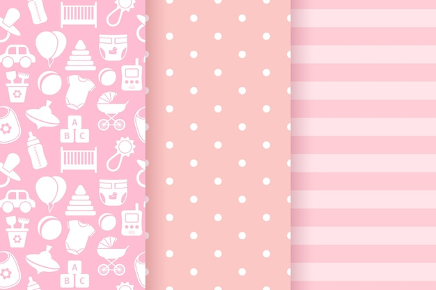 Baby meisje patroon. baby shower naadloze patroon. roze pastel kinderlijke textieldruk.
