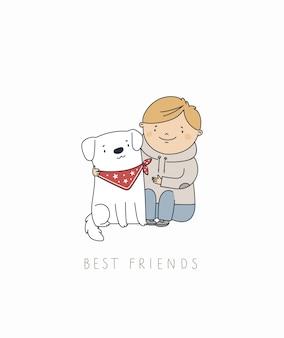 Baby met puppy hondje. beste vrienden voor altijd.