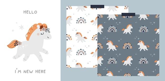 Baby mijlpaal kaart en patroon met schattig pony paard en regenbogen