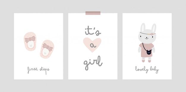 Baby mijlpaal kaart. het is een meisje. babyshower-print met alle speciale momenten
