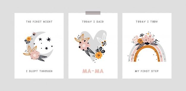 Baby mijlpaal kaart. verjaardagskaart voor babymaand. baby shower print met alle speciale momenten