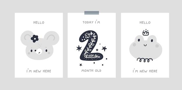 Baby mijlpaal kaarten met cartoon baby dieren voor pasgeboren meisje of jongen. baby shower print