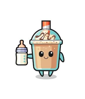 Baby milkshake stripfiguur met melkfles, schattig stijlontwerp voor t-shirt, sticker, logo-element