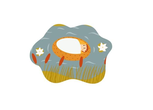 Baby mozes in mand drijvend in rivier bijbelverhaal op wit