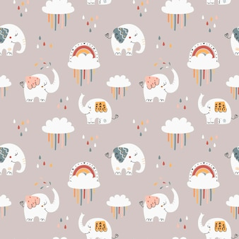 Baby naadloze patroon met schattige olifanten Premium Vector