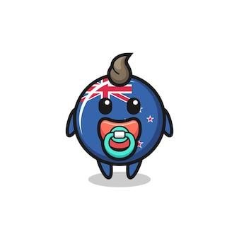 Baby nieuw-zeelandse vlag badge stripfiguur met fopspeen, schattig stijlontwerp voor t-shirt, sticker, logo-element