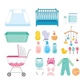 Baby objecten iconen set, uitrusting voor zuigeling