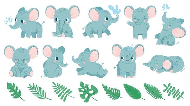 Baby olifanten. schattige cartoon dieren en tropische bladeren. babyshower olifant slaapt, zit en doet waterstraal. kwekerij decoratie vector set voor verjaardagsuitnodiging en wenskaart
