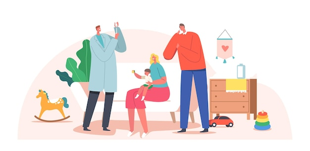Baby onderzocht door kinderarts thuis, dokter bereidt vaccin voor aan klein kind. familiekarakters mama en papa nodigen specialist neonatoloog uit voor medische behandeling. cartoon mensen vectorillustratie