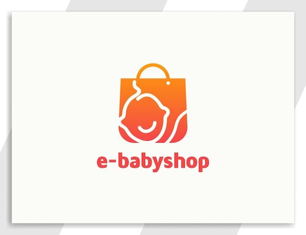 Baby online winkellogo met boodschappentasontwerp