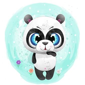 Baby panda schattig karakter geschilderd met aquarel premium vector