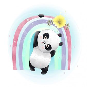 Baby panda schattig karakter geschilderd met aquarellen.