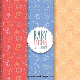 Baby patronen collectie in de hand getrokken stijl