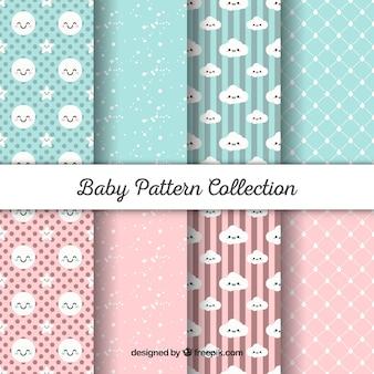 Baby patronen collectie in vlakke stijl