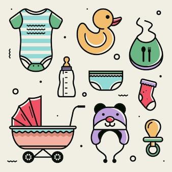 Baby pictogram set illustratie schattige baby vector-elementen Premium Vector