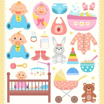 Baby plat pictogrammen set