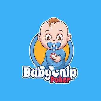 Baby poker chip cartoon karakter mascotte logo creatief ontwerp
