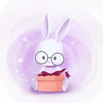 Baby rabbit krijg een geschenkdoos klaar om deze te openen