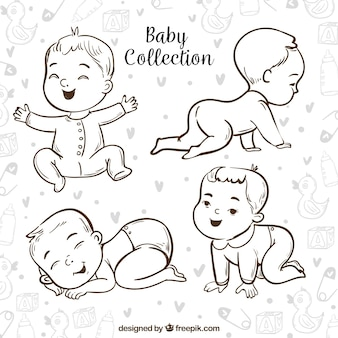 Baby's collectie in de hand getrokken stijl