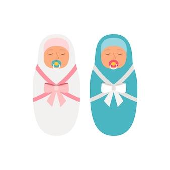 Baby's van meisjes en jongens. mooie pasgeboren babyillustratie, roze meisje en blauwe geïsoleerde jongen onschuldige kleine kinderen