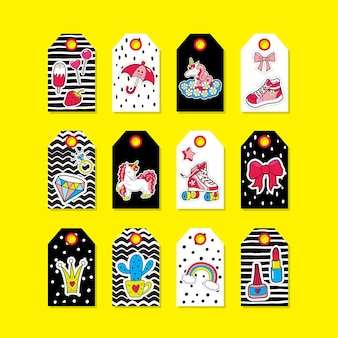Baby schattige tags met mode-patches