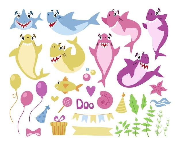 Baby shark verjaardagsfeestje clipart