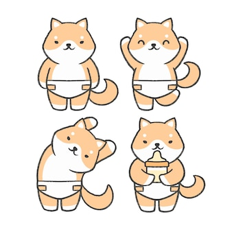 Baby shiba inu hand getrokken cartoon collectie