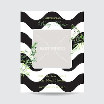 Baby shower aankomst bloemenkaart met frame voor foto