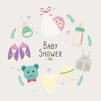 Baby shower belettering kaart met set pictogrammen rond illustratie