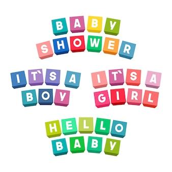 Baby shower belettering op kleurrijke speelgoed bakstenen