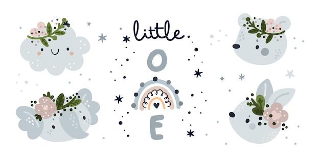 Baby shower collectie. kleintje met schattige dieren en regenboog