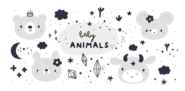 Baby shower collectie met schattige baby dieren in cartoon stijl