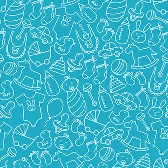 Baby shower doodle naadloze patroon.