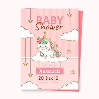 Baby shower eenhoorn uitnodiging sjabloon