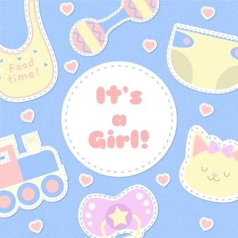 Baby shower evenement met meisje concept