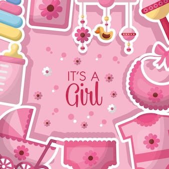 Baby shower feest roze kleding meisje geboren slabbetje speentjes speelgoed