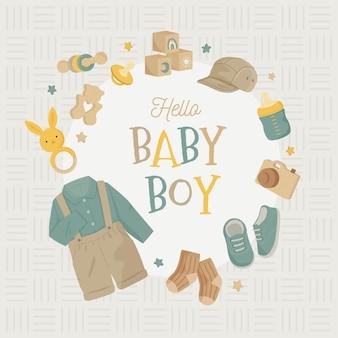 Baby shower frame esthetiek met wodden speelgoed hoed fopspeen sokken neutrale kleur aarde toon