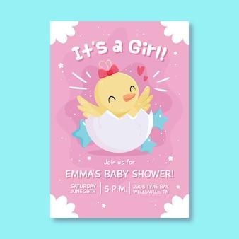 Baby shower geïllustreerde uitnodiging voor babymeisje