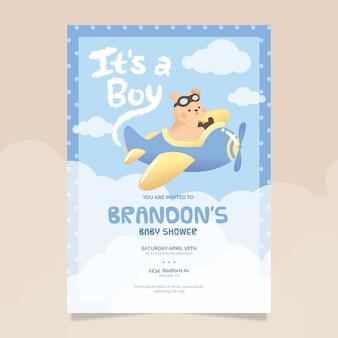 Baby shower geïllustreerde uitnodigingssjabloon voor babyjongen
